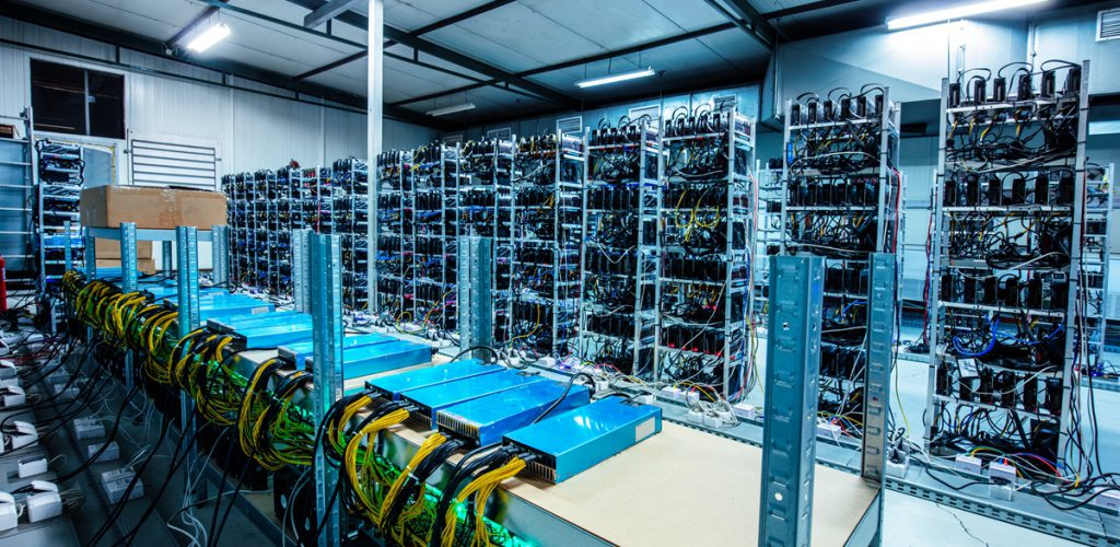 Bitcoin and crypto mining farm. Big data center. High tech server computers at work